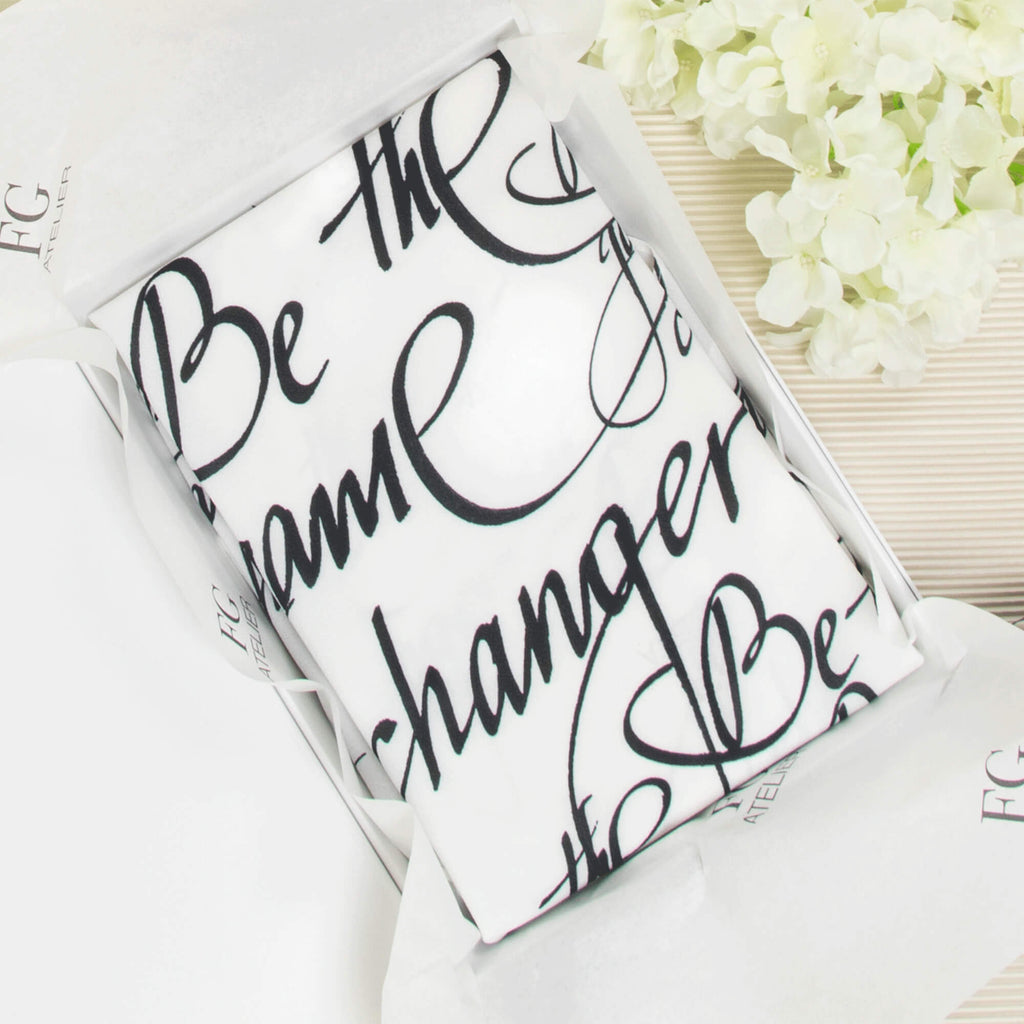 Black and White Calligraphy Print Scarf Be The Game Changer