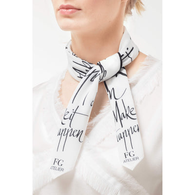 Black and White Calligraphy Print Scarf Make It Happen