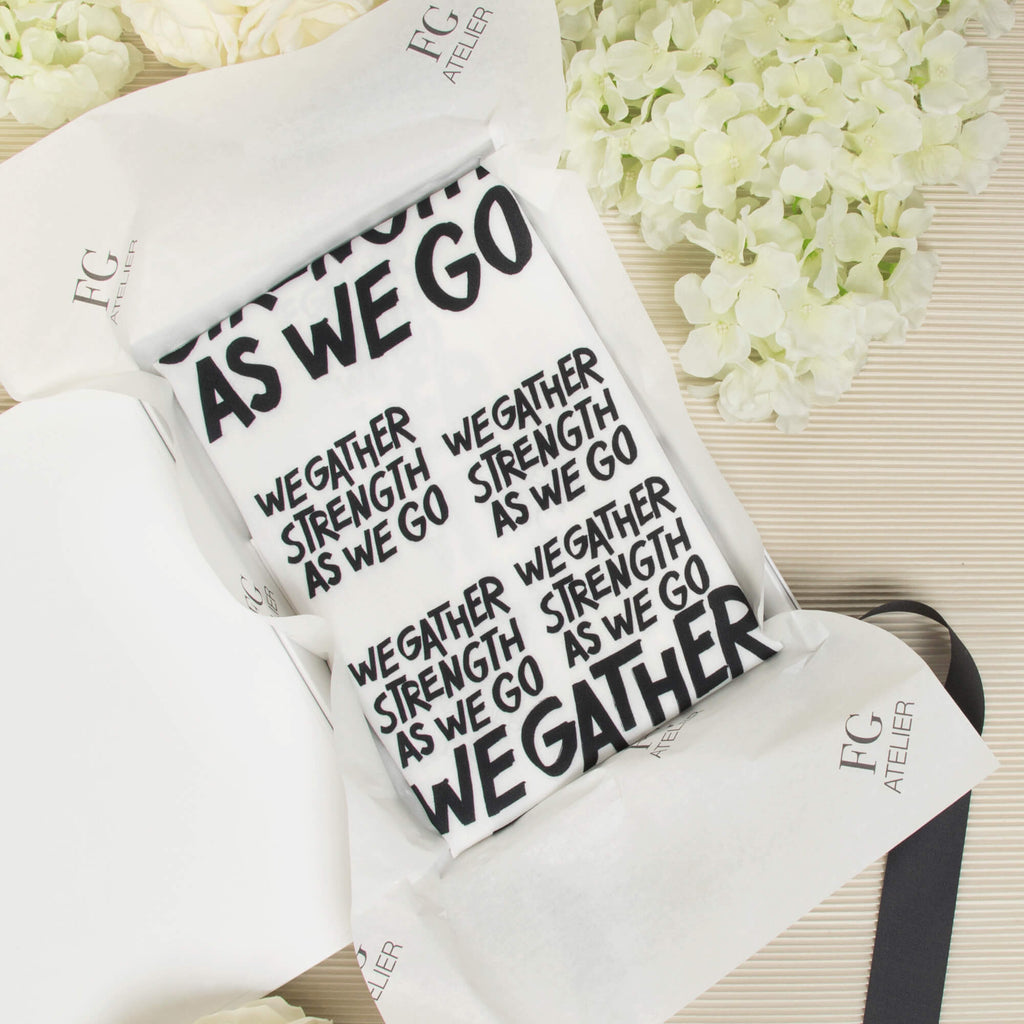 Black and White Calligraphy Print Scarf We Gather Strength as We Go