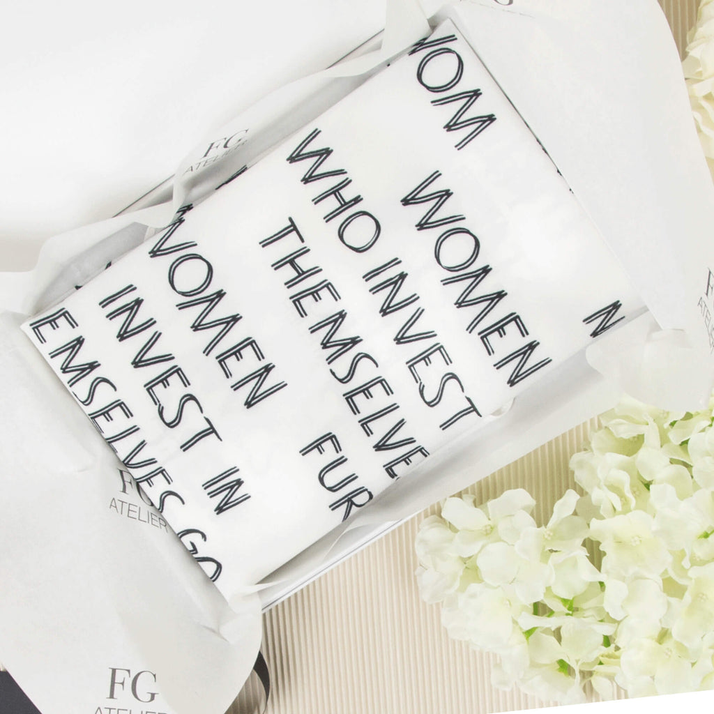 Black and White Calligraphy Print Scarf Women Who Invest