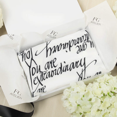 Black and White Calligraphy Print Scarf You Are Extraordinary