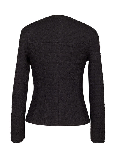 Black bouclé-tweed wool jacket