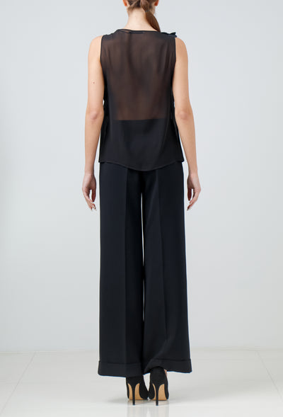 Black silk georgette sleeveless blouse with hand-cut organza petals