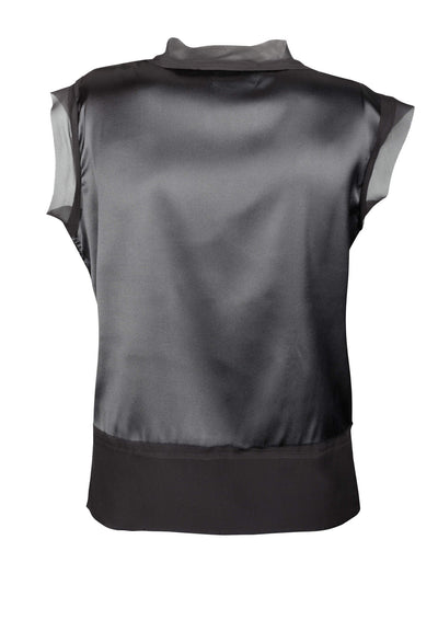 Black Stretch Satin Silk Blouse