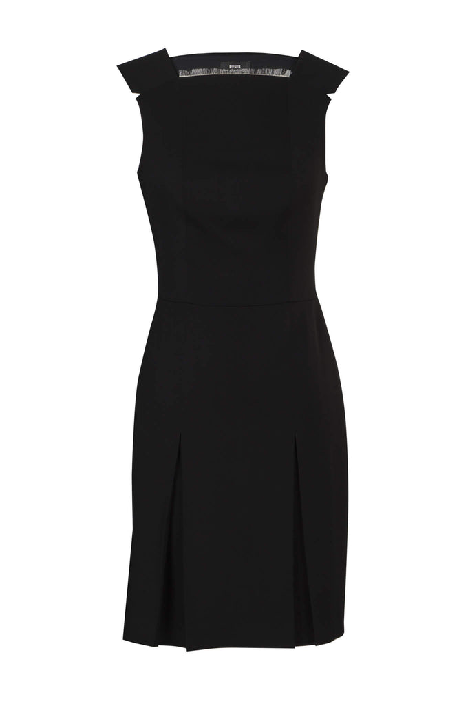 Black Wool Dress with Fringed Neckline
