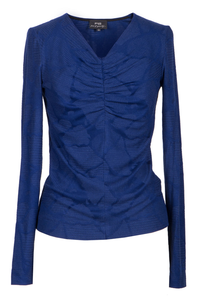 Blue gathered cotton blouse