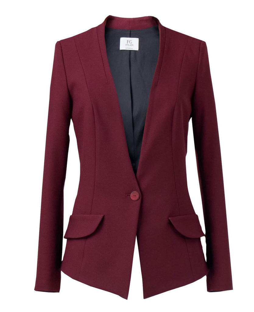 Burgundy Viscose Crepe Jacket