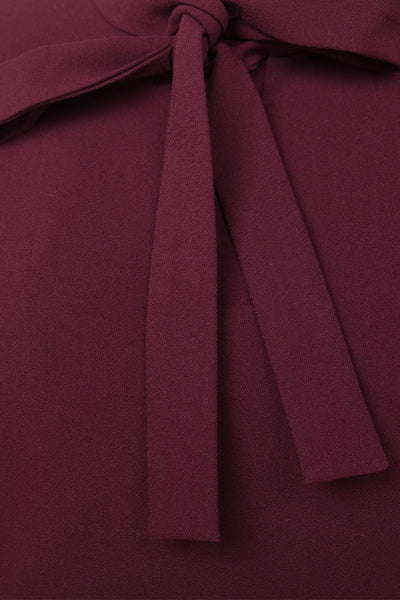 Burgundy viscose-blend crepe top