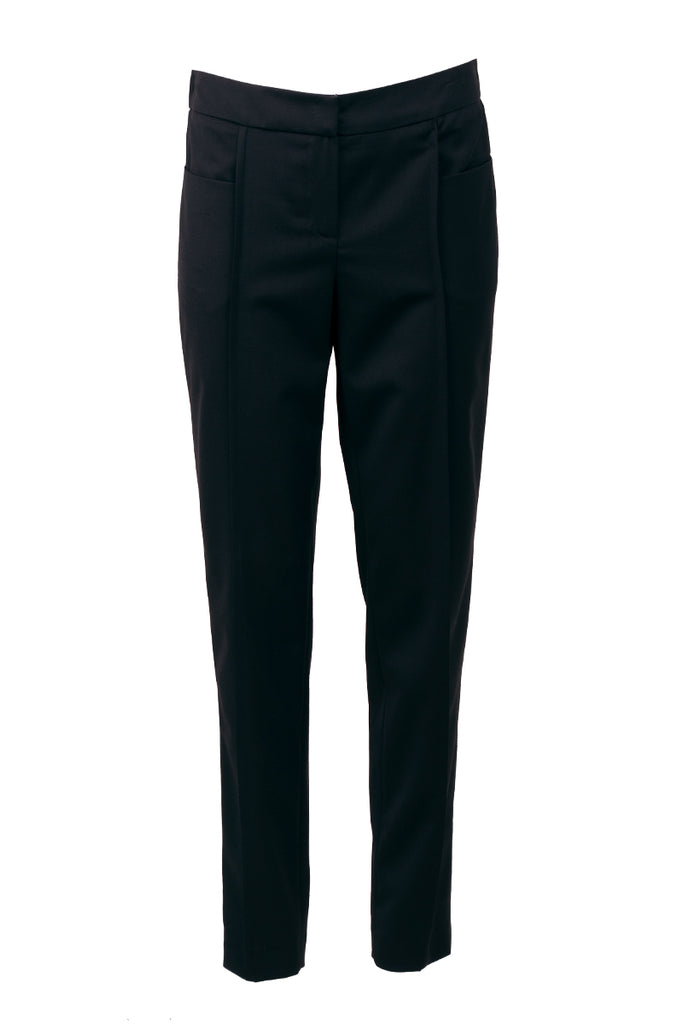 Classic fit black stretch wool-blend pants