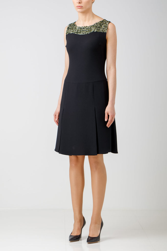 Crepe dress with contrasting tweed detail