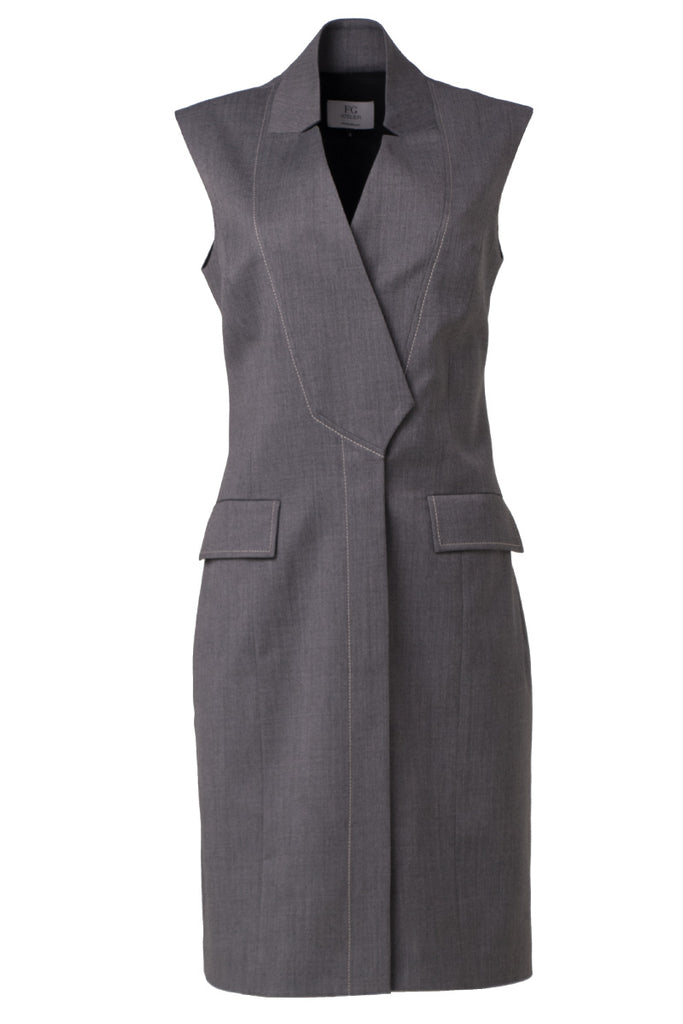 Dark grey sleeveless stretch wool dress