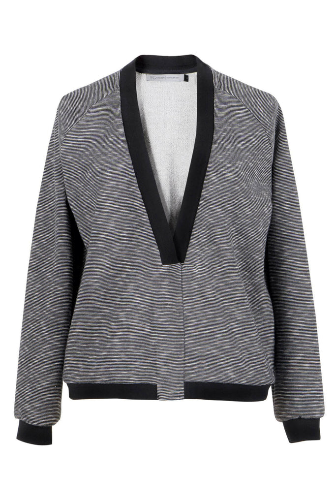 Grey & White Mélange Stretch Jersey Blazer