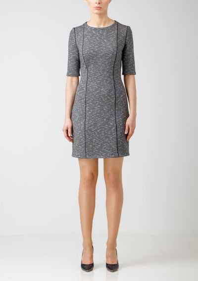 Grey & White Mélange Stretch Jersey Dress