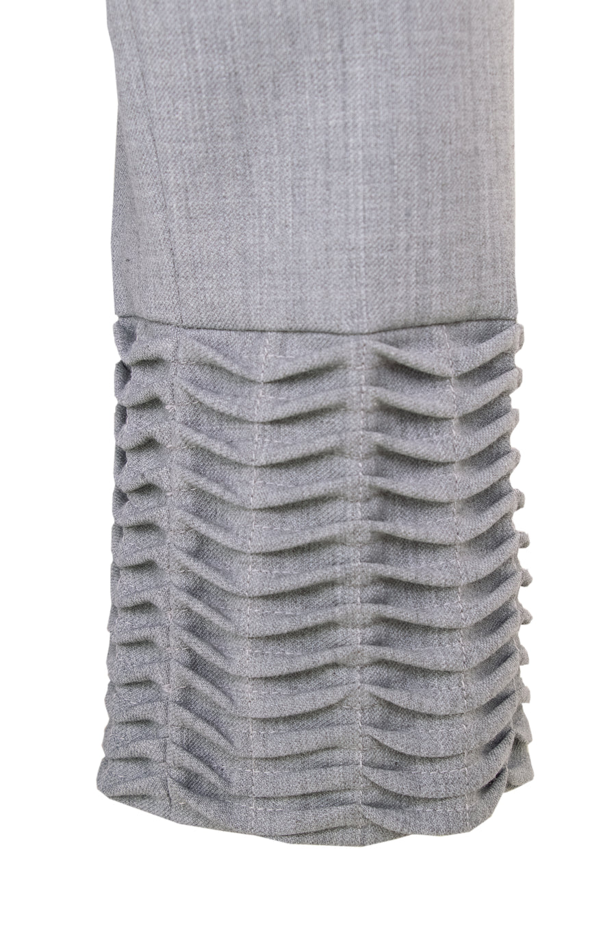 Grey stretch wool tuck wave dress
