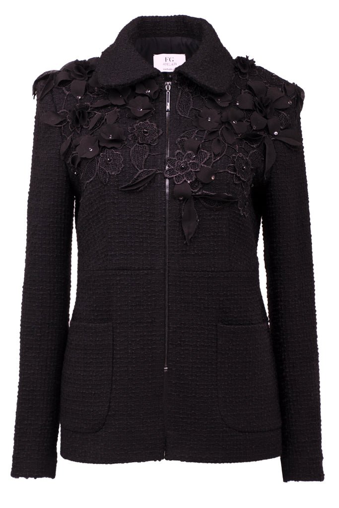 Guipure lace-paneled black bouclé wool jacket
