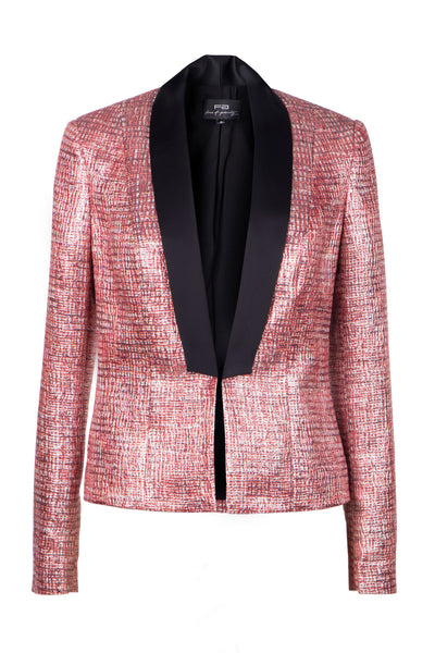 Satin-trimmed lurex tweed jacket