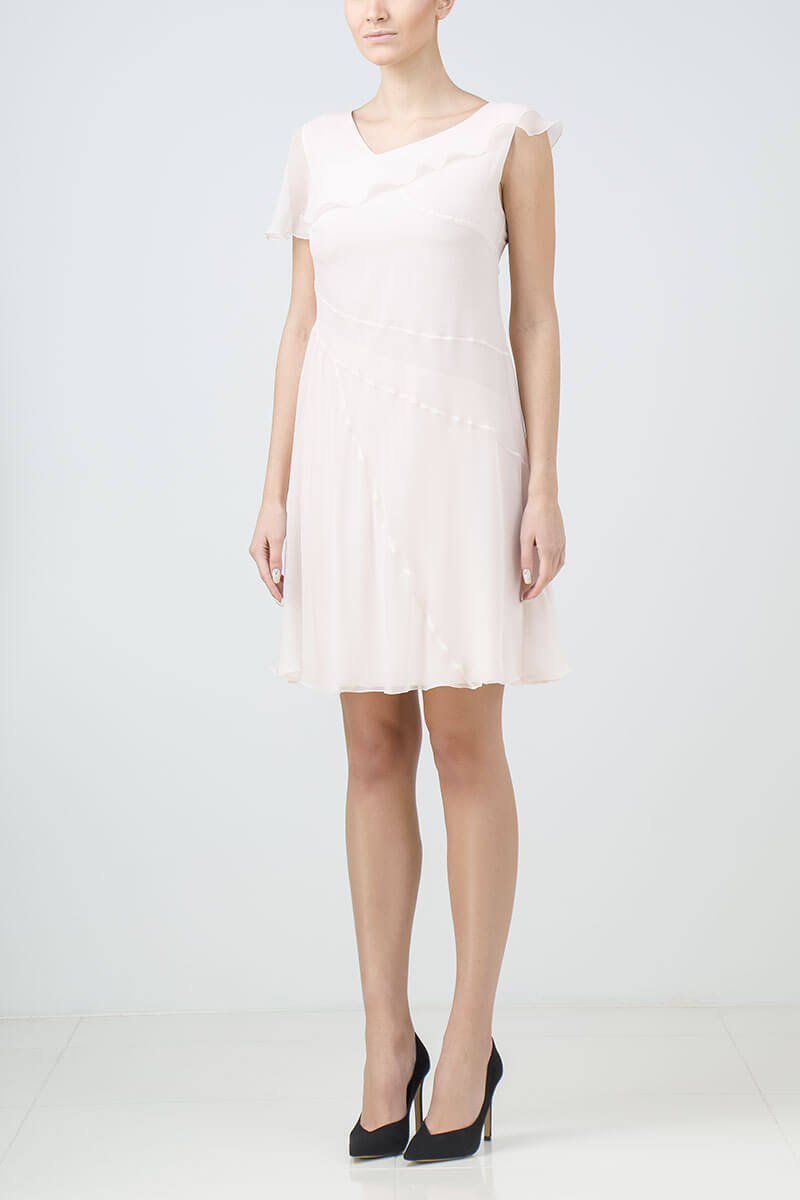 Light pink layered silk cocktail dress