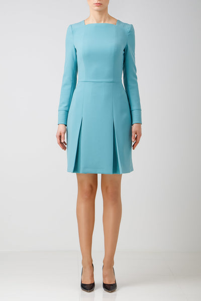 Light blue long sleeve crepe dress