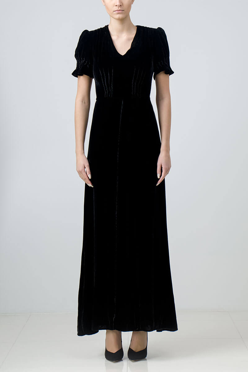 Long black silk velvet evening dress