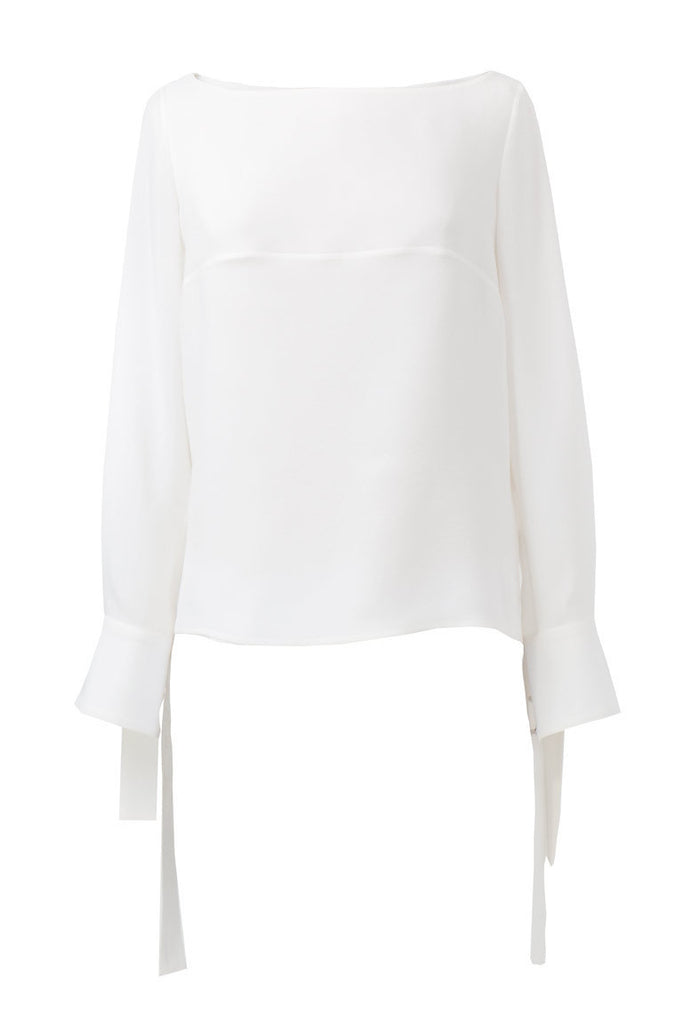 Long sleeve silk blouse with cuff bow details