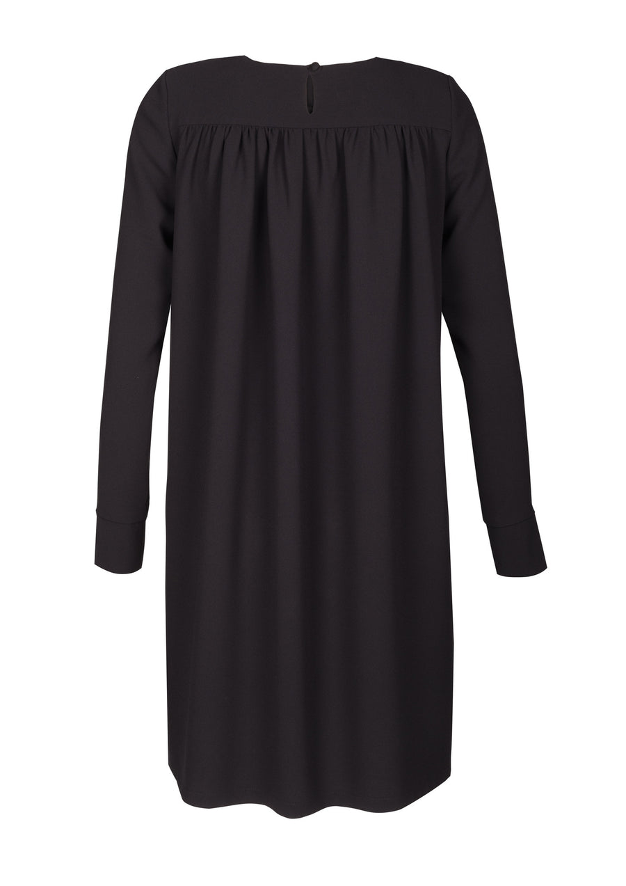 Long Sleeve Crepe Shift Dress