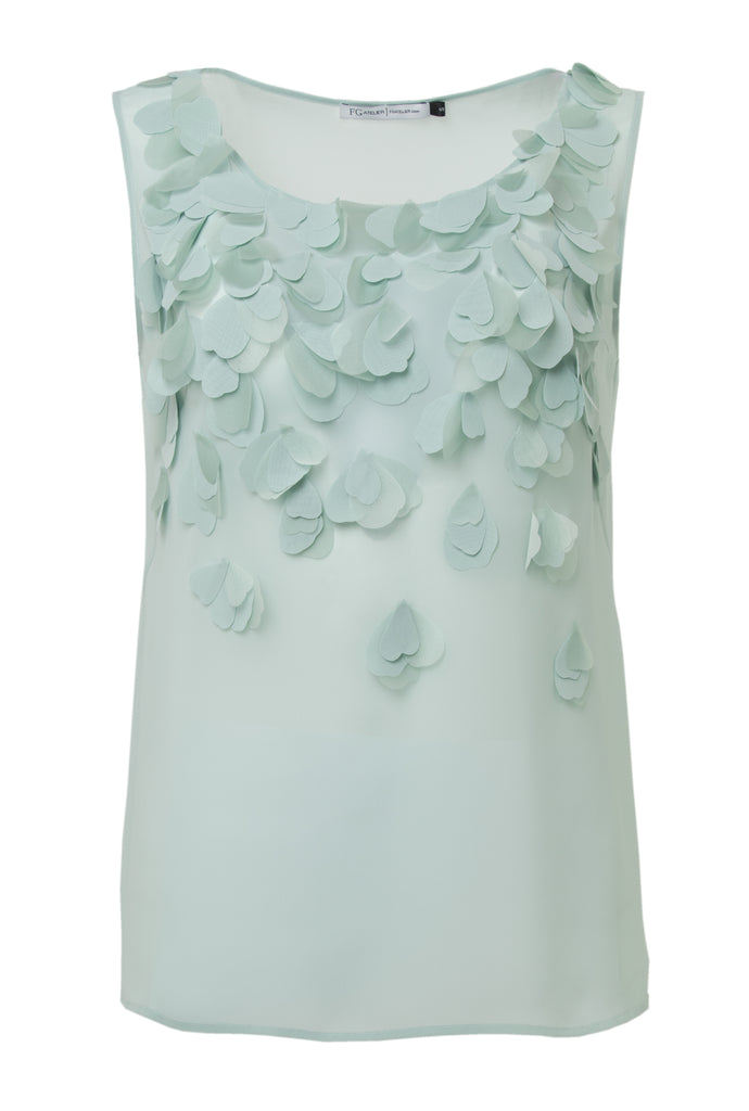 Mint silk georgette sleeveless blouse with hand-cut organza petals
