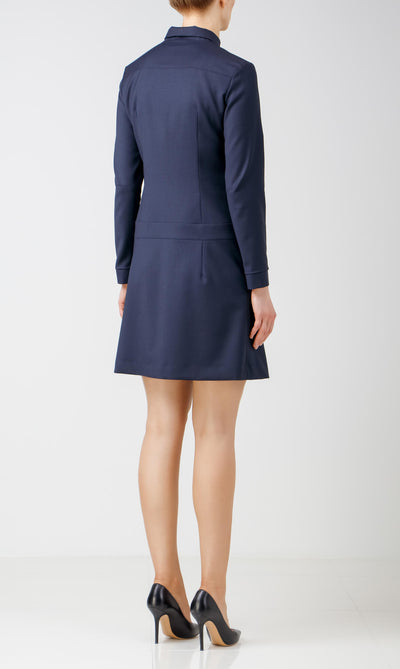 Navy blue wool safari dress