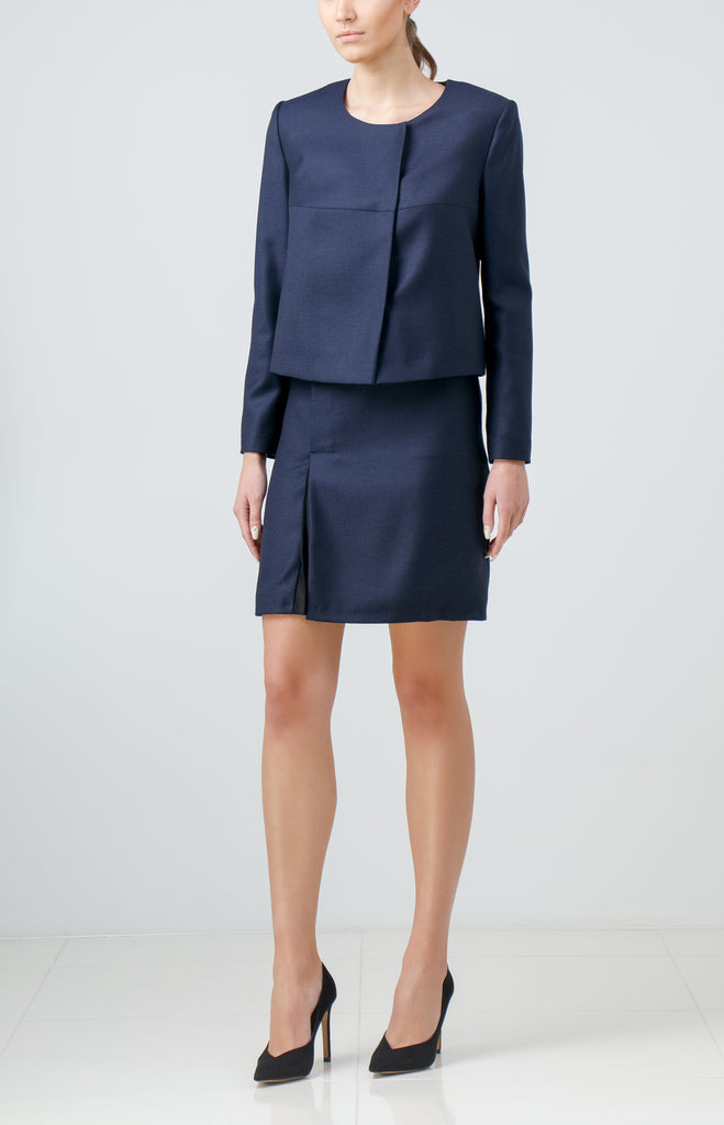 Navy Blue Wool Skirt Suit with Silk Insert