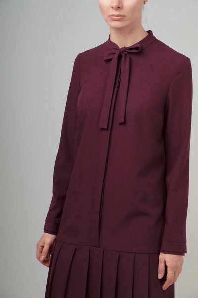 PLEATED BURGUNDY VISCOSE-BLEND CREPE DRESS