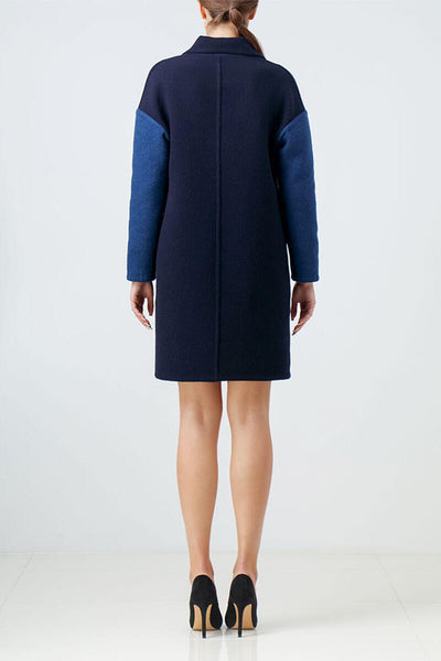 Reversible navy blue wool coat