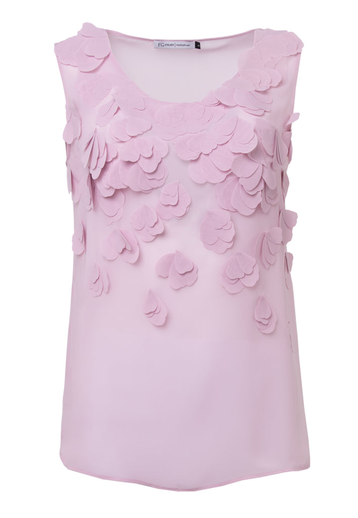 Rosy silk georgette sleeveless blouse with hand-cut organza petals