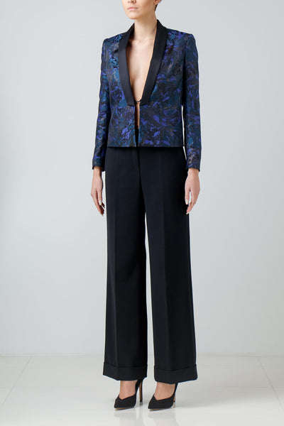 Satin-trimmed evening jacket