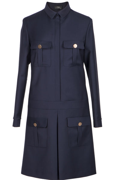 Navy blue safari dress