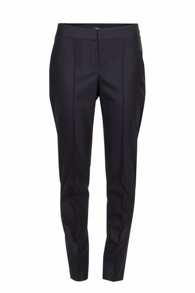 Satin-trimmed stretch-wool pants