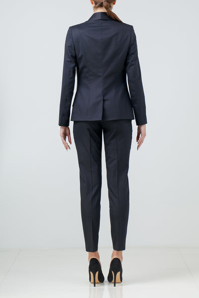 Satin-trimmed stretch-wool tuxedo blazer