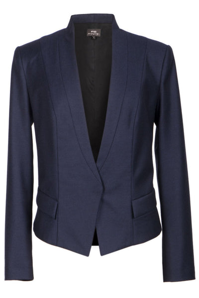 Single-snap navy blue wool jacket