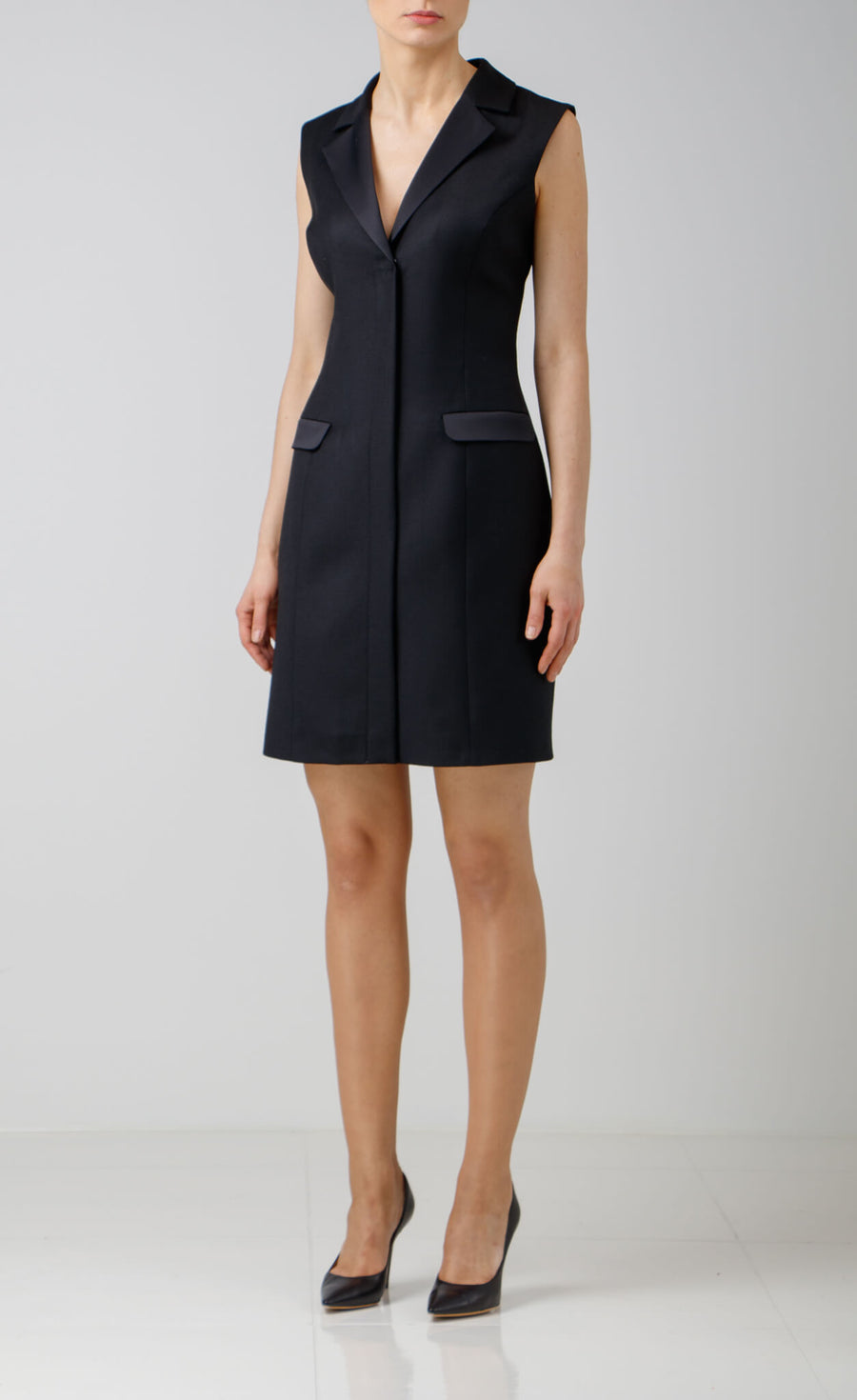 Sleveless Black Wool Blazer Dress