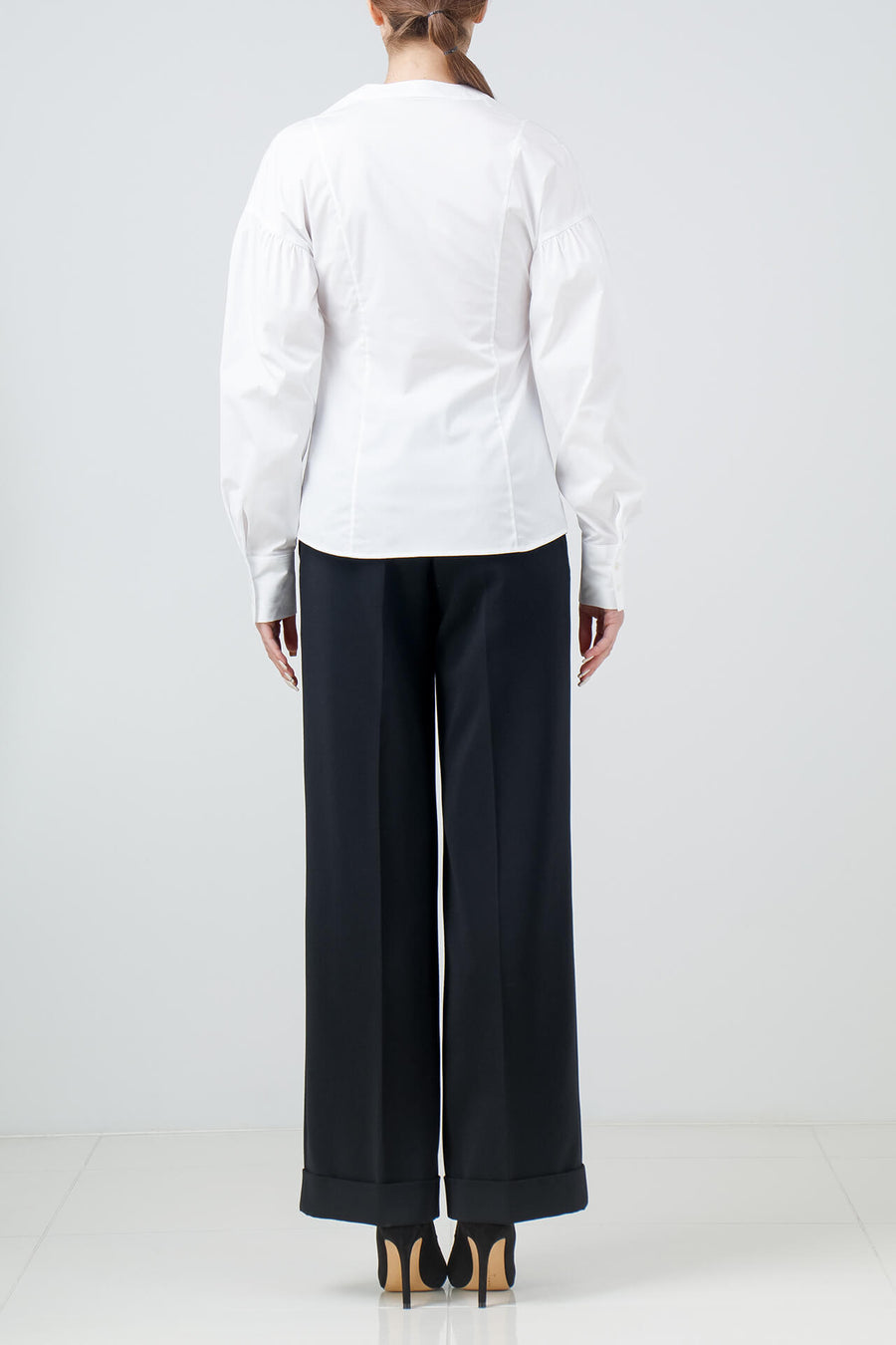 Stretch Egyptian cotton shirt with gathered sleeves