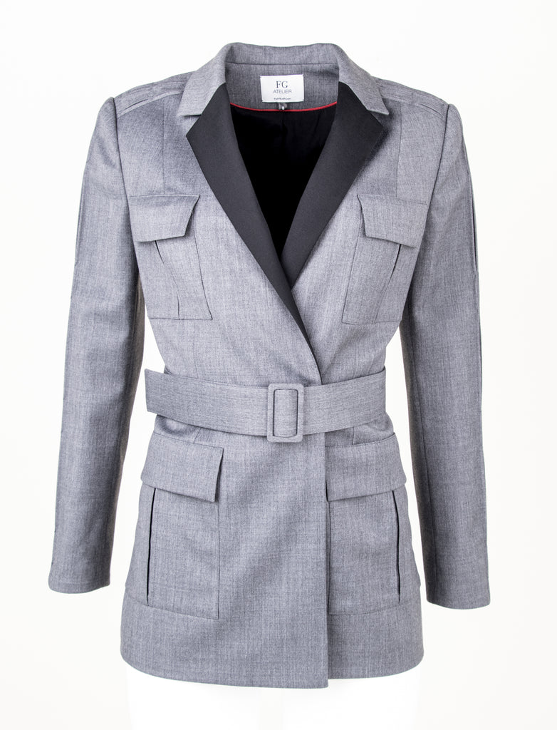 Stretch wool grey military style jacket