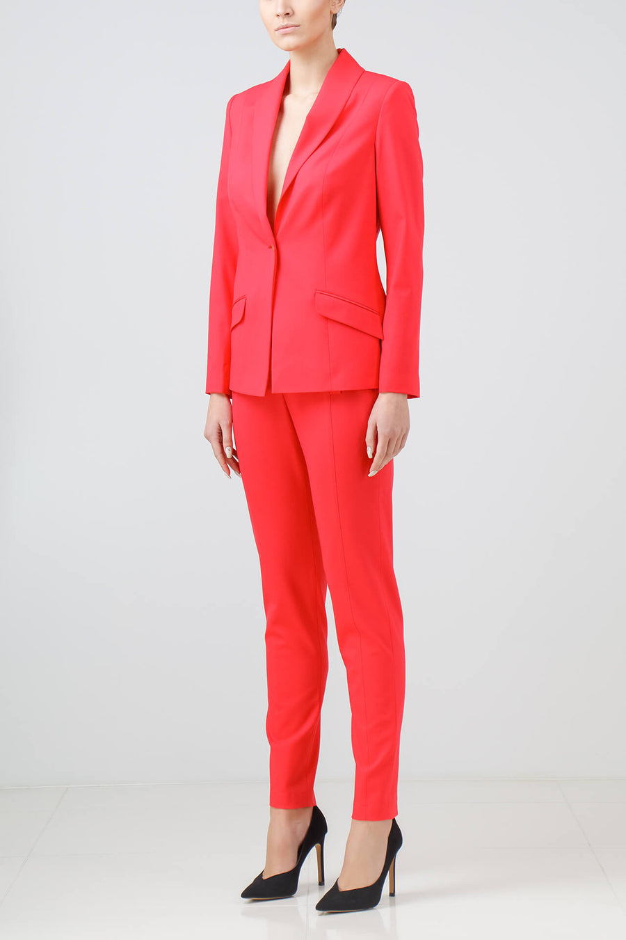 Coral stretch-wool pants