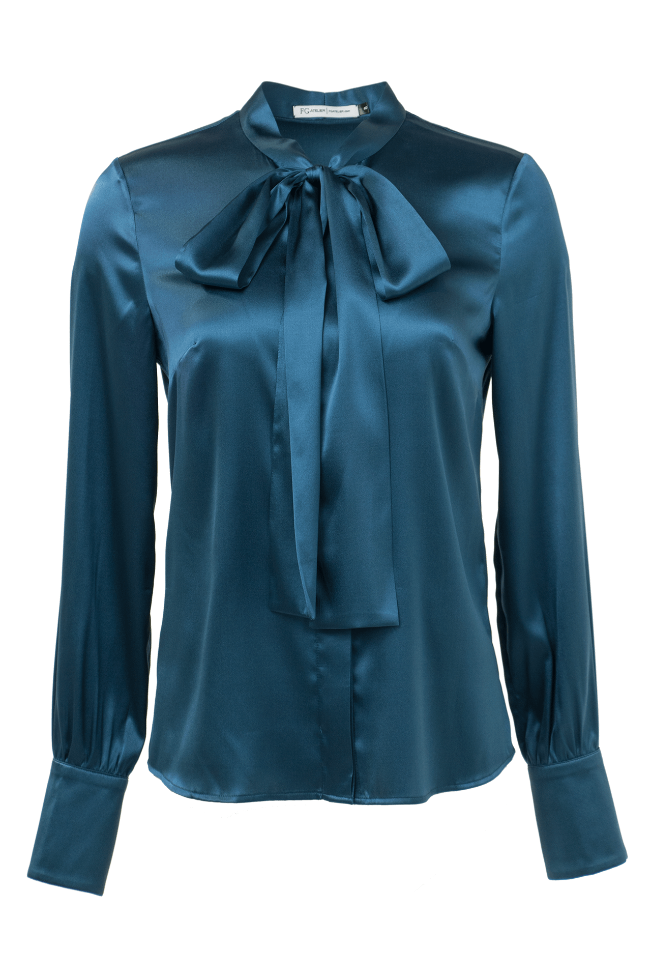 36bd67cea808b7 Topaz blue pussy bow stretch silk shirt. Touch to zoom