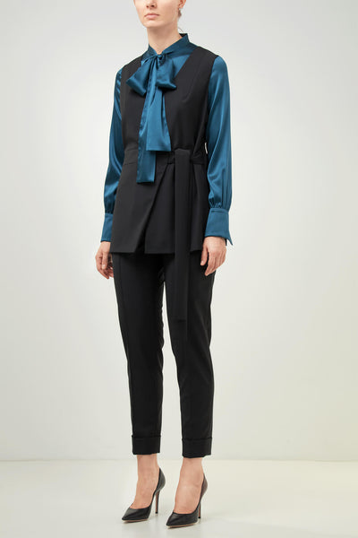 Topaz blue pussy bow stretch silk shirt