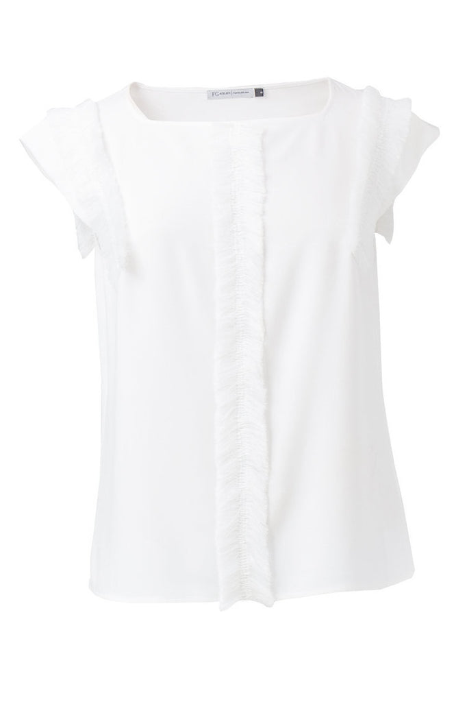 Viscose top with fringed detail
