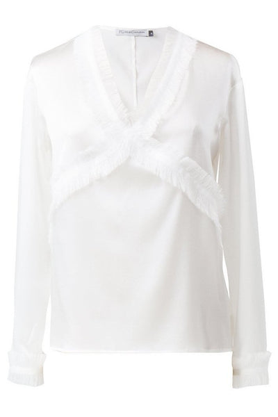 White strech silk blouse with fringe detail
