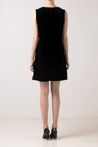 Black velvet sleeveless loose dress
