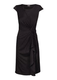 Gathered & twisted viscose jersey dress in black