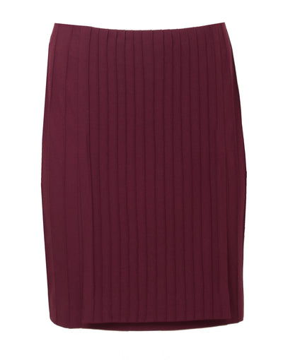 Burgundy viscose-blend crepe skirt