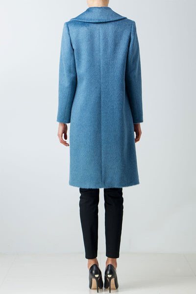 Pure alpaca wool light blue coat