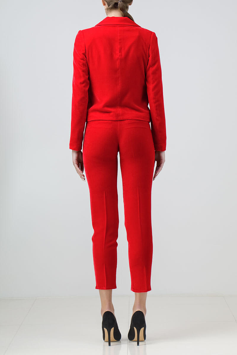 Red silk-velvet pantsuit
