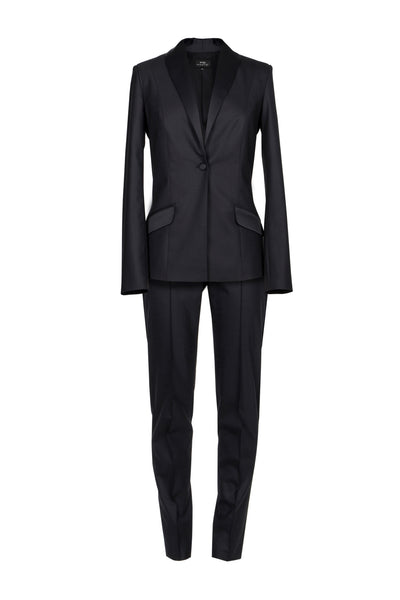 Satin-trimmed stretch-wool tuxedo